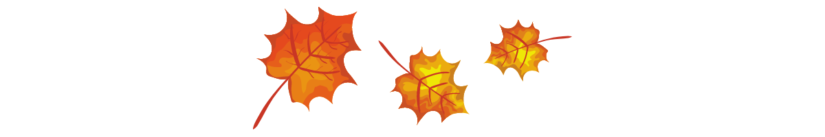 A graphic showing 3 autumn leaves blowing in the wind.