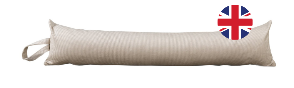 A photograph of a light coloured draught excluder, made out of corduroy fabric. There is a round graphic of the UK flag in the upper right-hand corner of the photo.