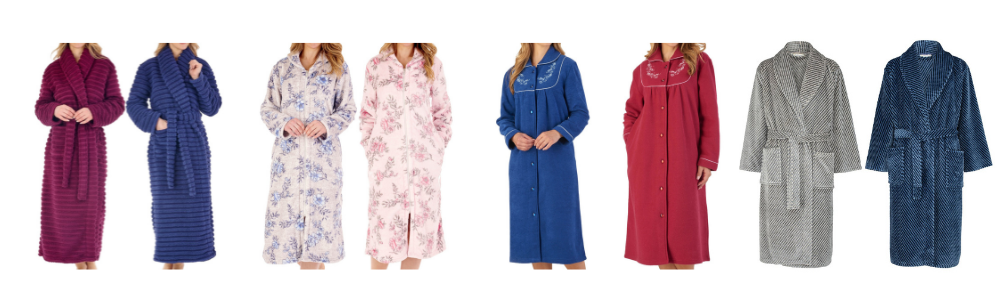 A photograph of 8 dressing gowns in different colours and styles.