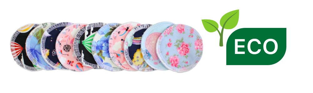 A photograph of 10 round cotton face cleansing pads. Each pad has a different fabric design. There is also a graphic to the right-hand side that reads, ECO, and a graphic of a growing plant.