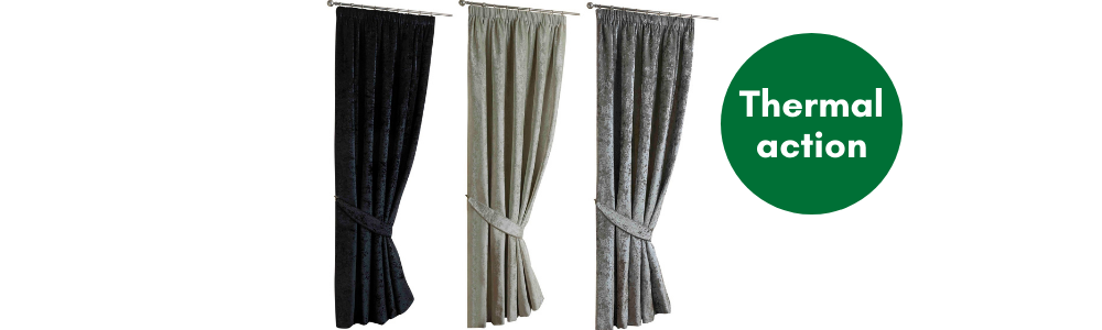A photograph of 3 thermal door curtains.